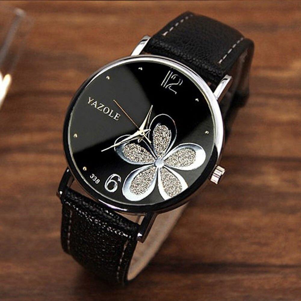 Womens Watches Flower Fashion Leather Analog Quartz Vogue Wrist Watch Leather Strap Clock Couple Watches Relogio