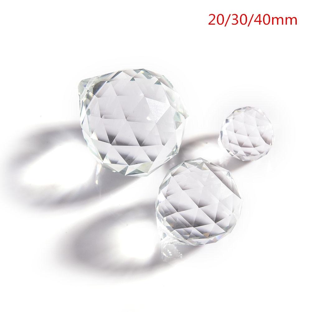 1 Uds claro 30 bola de cristal mm prisma facetado araña de cristal partes lámpara colgante bola Suncatcher decoración para el hogar