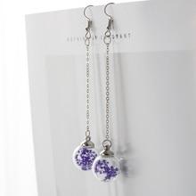 Blume Eardrop Getrocknete Blume In Glas Ball Ohrringe Fantasie DIY Ohr Linien Baumeln Ohrring Für frauen # HZ201