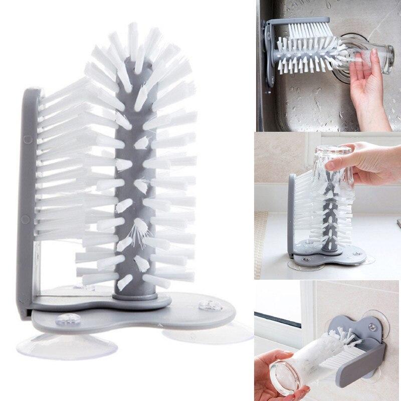Limpiador de vidrio creativo cepillo de botellas soporte de fregadero bebida agua limpiador para tazas taza succión cocina botella taza limpiador mágico cepillo de piel