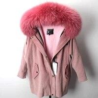 new rex rabbit fur liner womens winter parkas coat 2018 corduroy cotton warm large real fur collar loose bat sleeved jackets