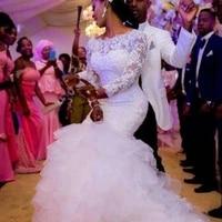 vintage long sleeve lace mermaid wedding dress boat neck ruffles skirt bridal gown vestido de noiva high quality custom made