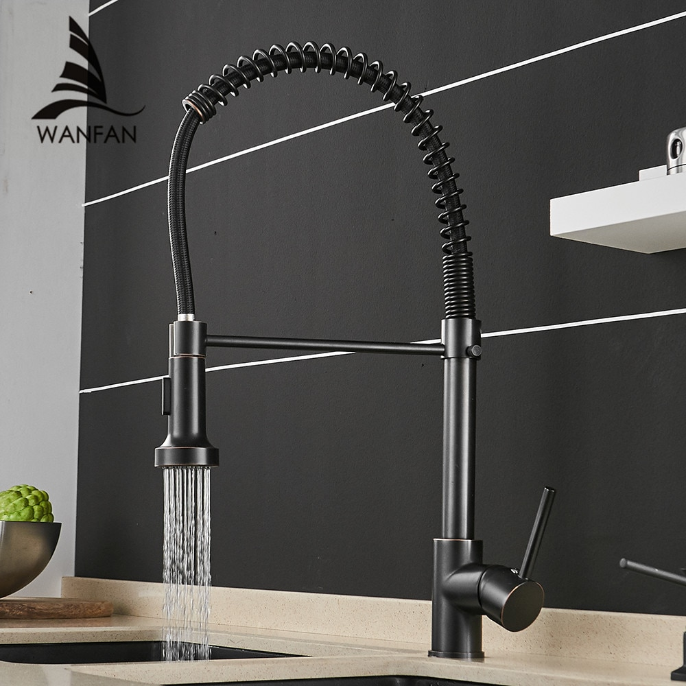حنفيات المطبخ باللون البرونزي الأسود لحوض المطبخ ، حنفية خلاط مع صنبور زنبركي يسحب للخارج ، رافعة الماء الساخن والبارد 866025