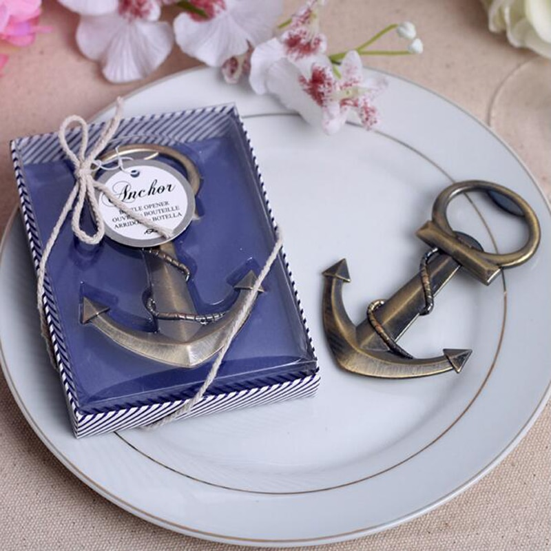 (50 pieces/lot) Groomsmen Gift Antique Anchor Beer Bottle Opener With Gift Box Wedding Favors Present Grant Event Souvenir BO018