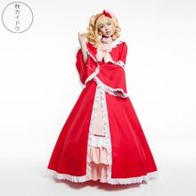 Costume de robe Lolita de princesse rouge pour filles Anime majordome noir cosplay Elizabeth Ethel Cordelia Midford Halloween cos palace