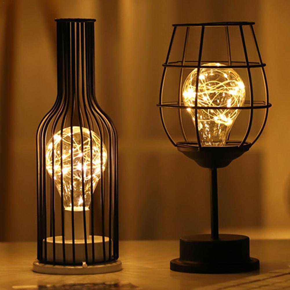 Fer bouteille de vin lumière LED classique élégant lampe de bureau innovant décoration de la maison