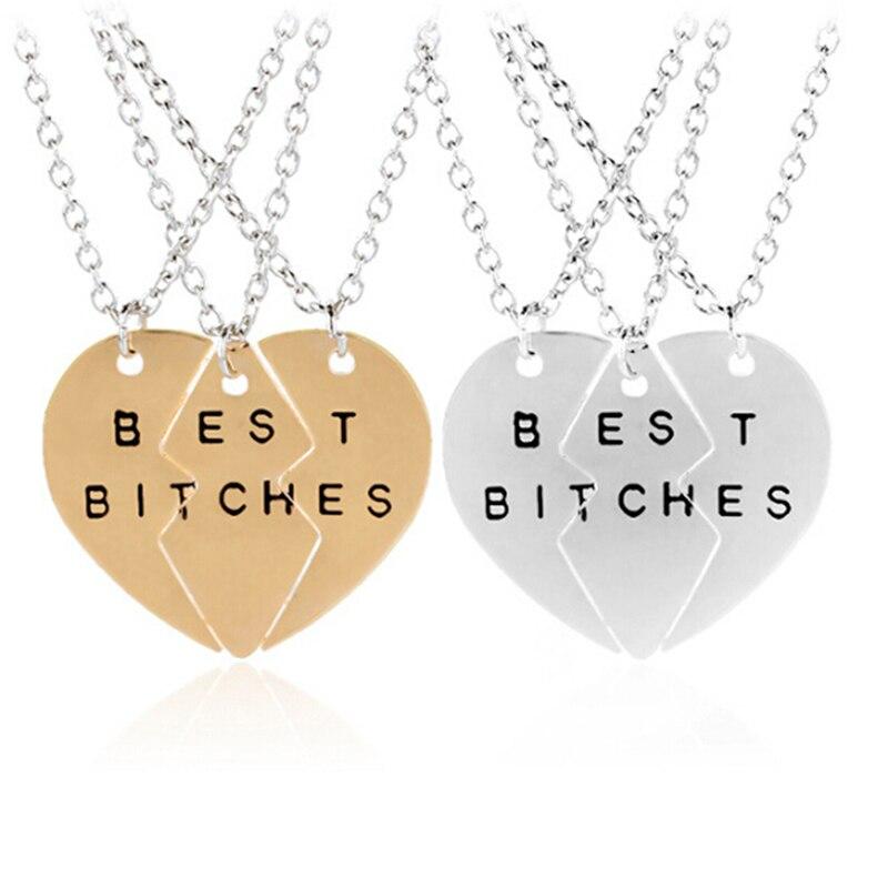 Neue Mode Gebrochen Herz 3 Teile Gold Beste Bitches Halsketten & Anhänger, Schmuck Für Frauen, beste Geschenk für Freunde