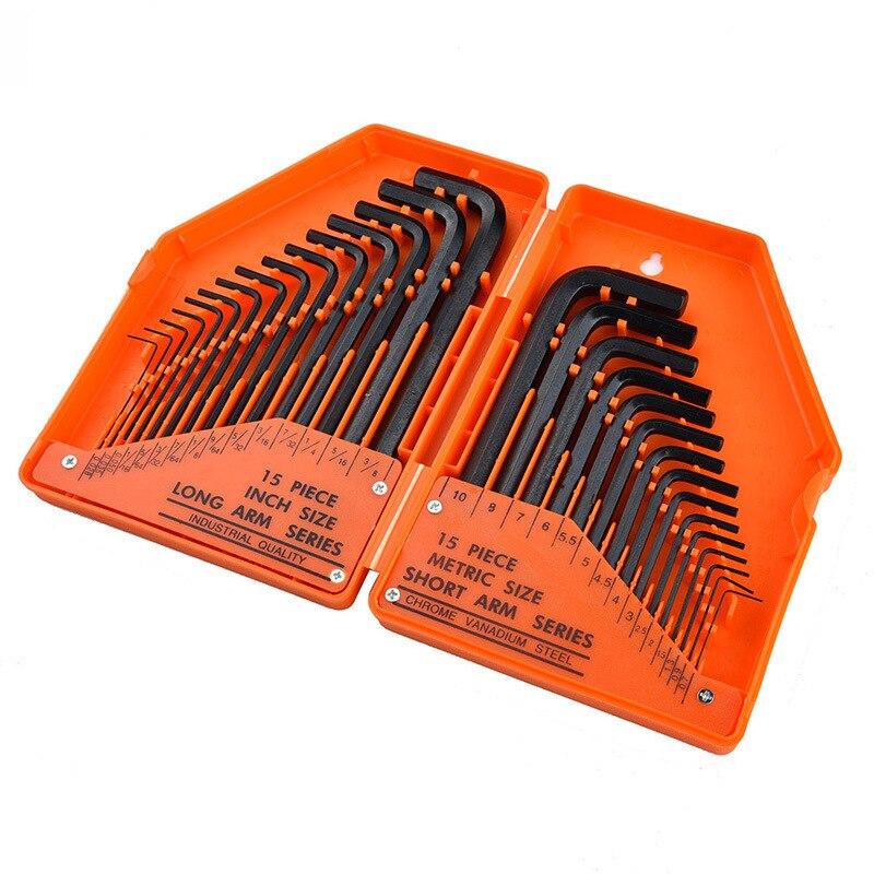 Llave hexagonal de plástico en caja en forma de L juego de llave hexagonal cabeza de bola flor de ciruelo interior hexagonal combinación 30 unid/set