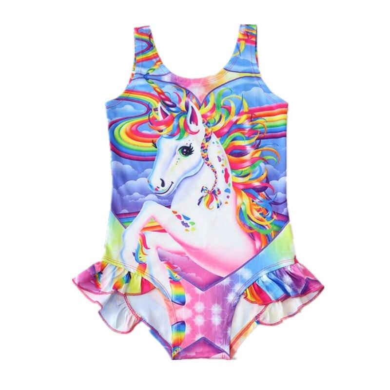 Купальник-бикини с единорогом для девочек, летняя детская одежда для купания с единорогом, детский купальник с радужной лошадью, От 2 до 7 лет...