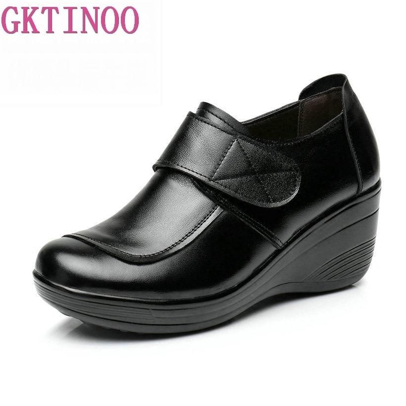 GKTINOO-حذاء نسائي بكعب عالٍ بمقدمة مستديرة ، حذاء منصة ، جلد طبيعي ، كاجوال ، لفصلي الربيع والخريف ، 2021