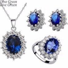 Królowa Royal ocean niebieskie białe złoto austriackie kryształki górskie wisiorek z cyrkonią naszyjnik łańcuch kolczyki pierścień biżuteria zestawy 8585