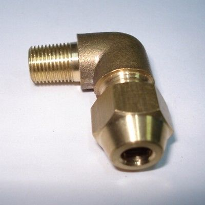 "Tubo de alargamento od 8mm x 1/2 ""bsp cotovelo masculino bronze flare conector macho tubo encaixe pneumático com porca de alargamento curto"