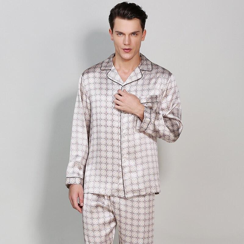 Мужская Шелковая пижама, пижамные комплекты больших размеров, шелковые пижамные комплекты с длинными рукавами, комплект из 2 предметов, шел...