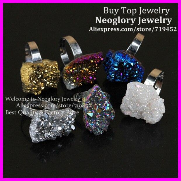 6 piezas mezcladas de titanio arcoíris druzy anillo de bisel de plata anillo de cristal Semi precioso único Druzy anillo gemas de cristal drusa anillo