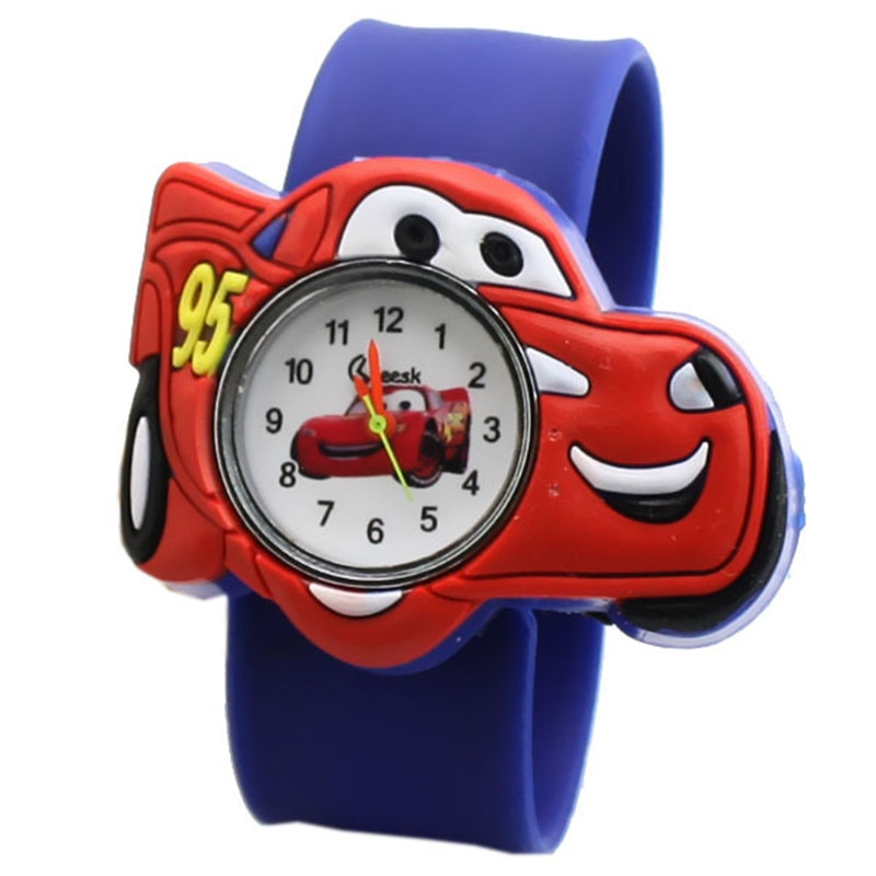 2020 Hot Selling Children watch boy cartoon car Clock Silicone Tape patted table students lovely coo