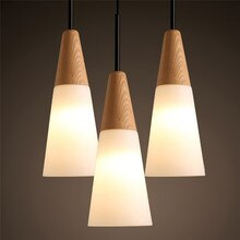 Luces colgantes Led de madera de roble de estilo nórdico, lámparas colgantes creativas de cristal blanco para sala de estar