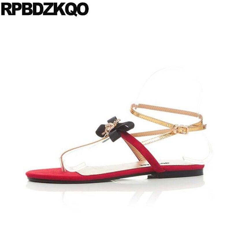 Embellecido T Correa Abeja Rojo Sandalias Slingback Fiesta Kawaii Diseñador De Zapatos Mujer Lujo 2017 Corbata Moño Linda Arco Planos Correa Tobillo Plano Verano