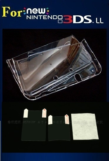 Hothink capa de cristal para nintendo 3ds xl, capa protetora + película protetora para nintendo 3ds ll 3dsxl 3dsll (nova versão)