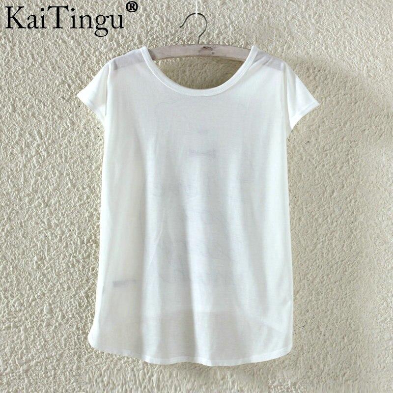 Kaitingu kawaii śliczne t koszula moda lato harajuku wysoki niski styl cat print t-shirt z krótkim rękawem t shirt kobiet topy plus size 3