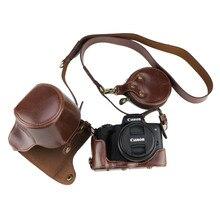 Etui de luxe en cuir Pu pour Canon EOS M50 EOSM50 avec objectif 15-45mm couvercle de batterie ouvert + sangle + Mini étui de batterie