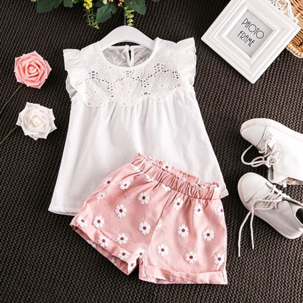 Toddler Girls Clothes Sets Kid Clothes Summer 2020 Hollow Flare Sleeve T-shirt Vest Tops Shorts Pants Set Princess Ropa Nina