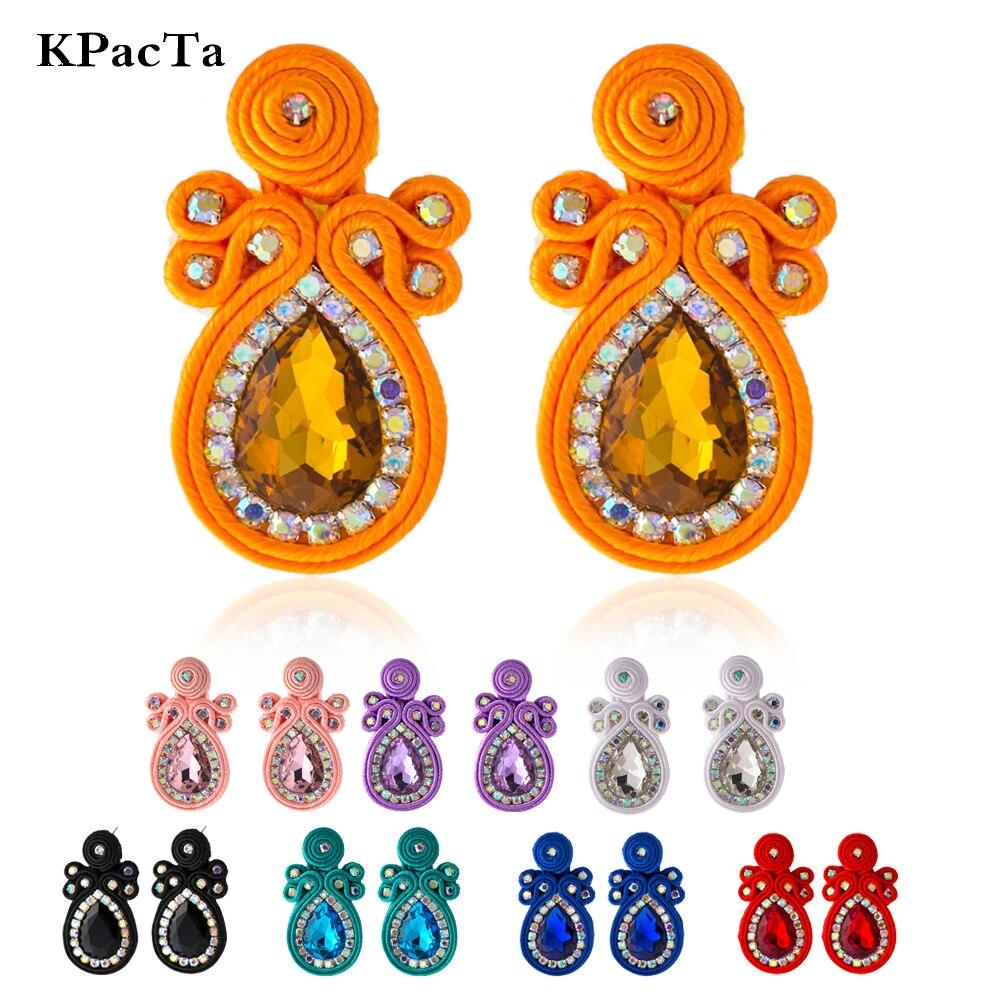 KPacTa, pendiente grande hecho a mano de moda Soutache, joyería étnica para mujeres, accesorios de decoración de cristal, pendientes de gota, boucle doreille