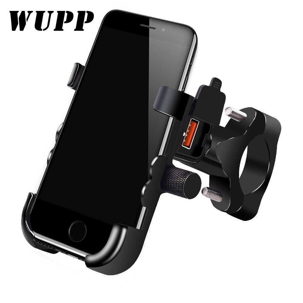 WUPP Universal QC 3.0 USB شاحن دراجة نارية حامل هاتف مقاوم للماء 12 فولت دراجة نارية حامل الهاتف المحمول جبل محول الطاقة المقود