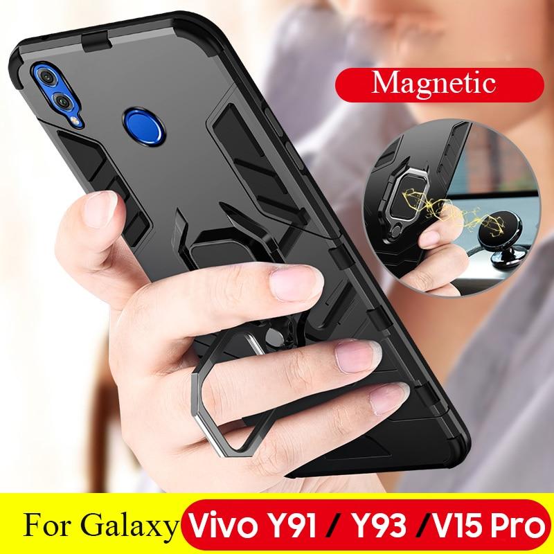 Carcasa para Vivo Y91 Y93 para Vivo IQOO V15 Pro X27 S1 Y97 Y83 Y85 V9 Y66 Y67 Coche magnético a prueba de golpes