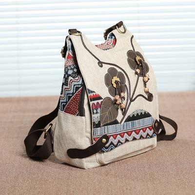 حقائب ظهر للسفر مطبوعة للسيدات ، حقائب ظهر صغيرة ذات طابع وطني جميل ، ظهر منقوش ، ظهر عاري متعدد الأغراض