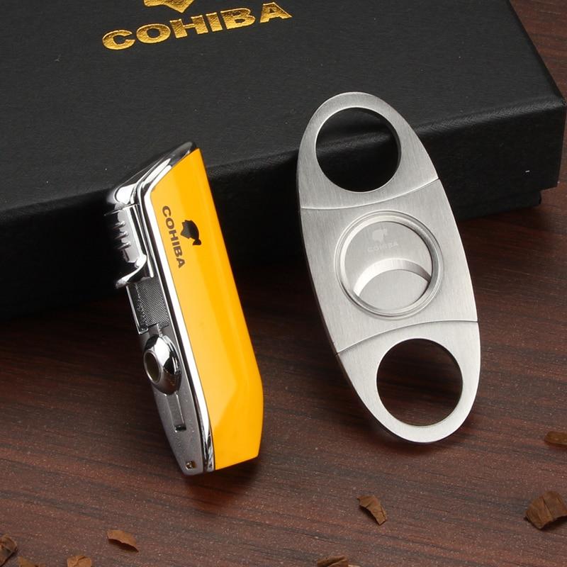 COHIBA зажигалка для сигар 3 Jet Flame газовый фонарь Бутановая Зажигалка резак острые аксессуары для сигар W/ Ciagar Punch & Подарочная коробка