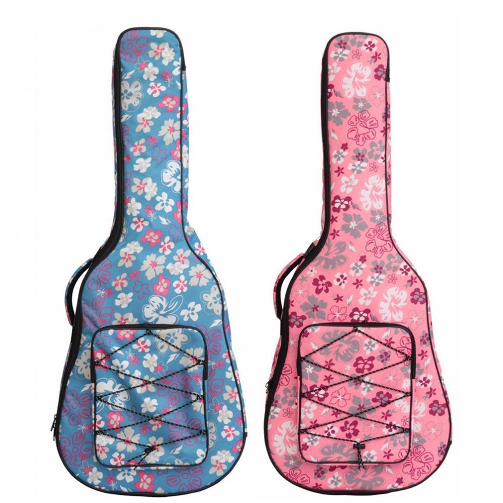 40/41 pulgadas flor impresa Folk acústico Gig bolsa doble correas lona Pad 10mm algodón grueso suave cubierta impermeable mochila