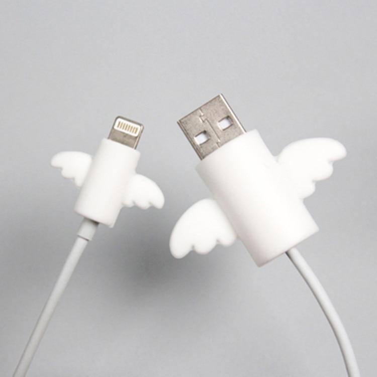 2 unids/lote lindo ala de Ángel Cable Protector de auriculares enrollador de Cable USB alambre organizador titular Clip Wrap escritorio Set estacionario