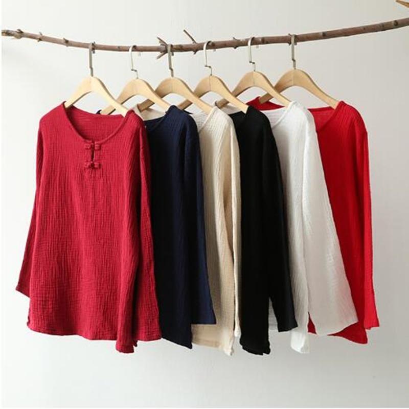 Camisas de mujer de lino de algodón de Color liso con cuello redondo de manga larga holgadas informales combinables con todo de verano para mujer de talla grande S-5XL/6XL