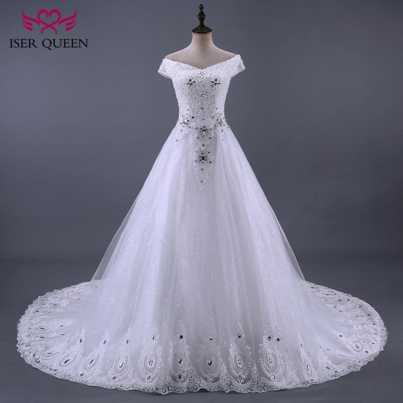 Cristal de lujo vestido de novia 2020 una línea de encaje bordado hermoso rebordear Boda de Princesa vestido de novia nuevo WX0085