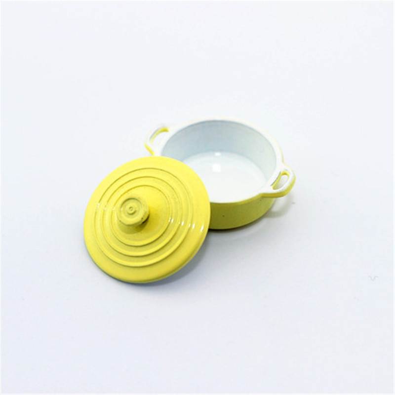 2018 Cute Kitchen Toy Dollhouse Miniature Kitchen Cooking Ware Mini Pot Boiler Pan with Lid Doll House Accessories