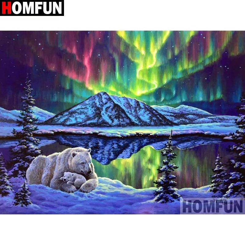 "HOMFUN, taladro redondo/cuadrado completo 5D DIY, pintura de diamante ""Aurora oso paisaje"" en 3D bordado de diamantes, punto de cruz, decoración del hogar A19812"