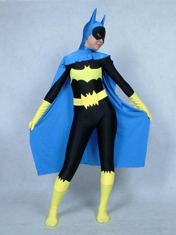 Lycra Spandex Batman Superhero Zentai Costume with Cape for Halloween Batwoman Batgirl Zentai Cosplay Suit