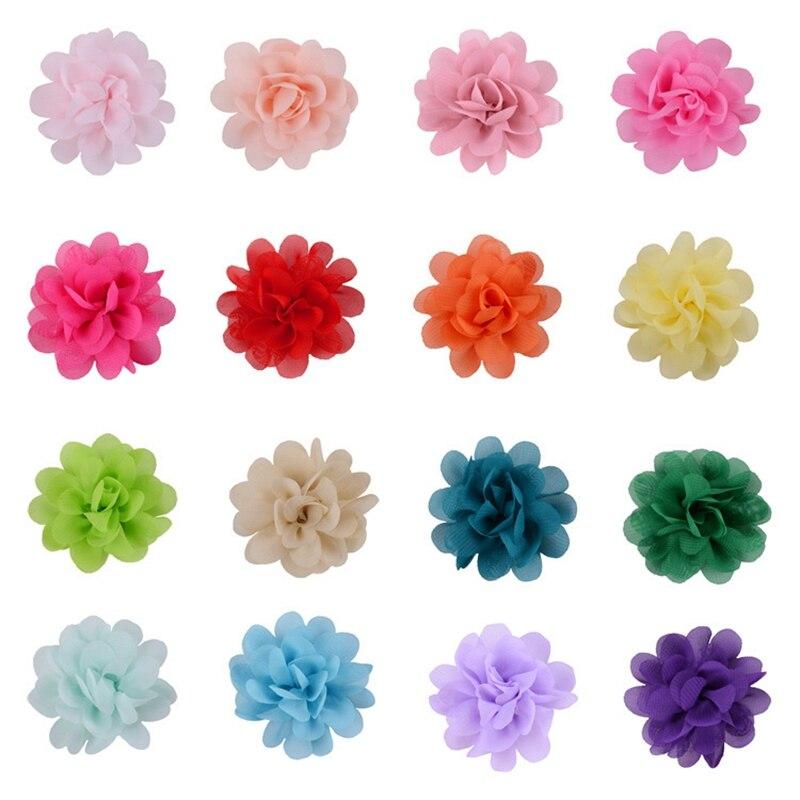 2 & quot; 20 unids/lote de flores de tela de gasa para diadema de niña Clips para el pelo Diy ropa gorras zapatos accesorios hechos a mano accesorios para el cabello