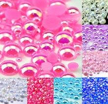 Perles courtes rondes AB rose foncé   500 pièces mélangées, Cabochon artisanal, décoration pour Scrapbook, perles vêtement dart, bricolage de 2 à 10mm