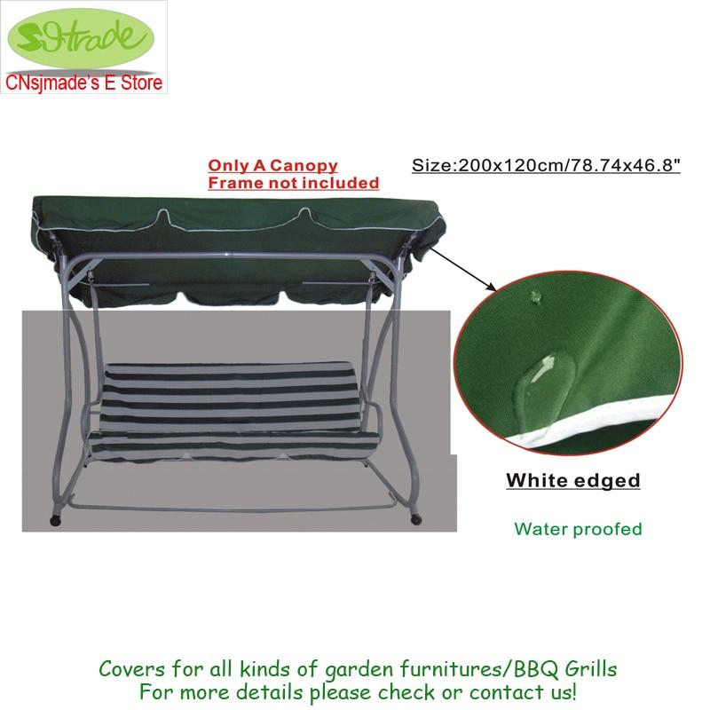 Потолочная ткань для 3 металлические сиденья, гамак 200x120 см, замена кровли садовые качели, темно-зеленая Полиэстеровая ткань, водонепроницае...