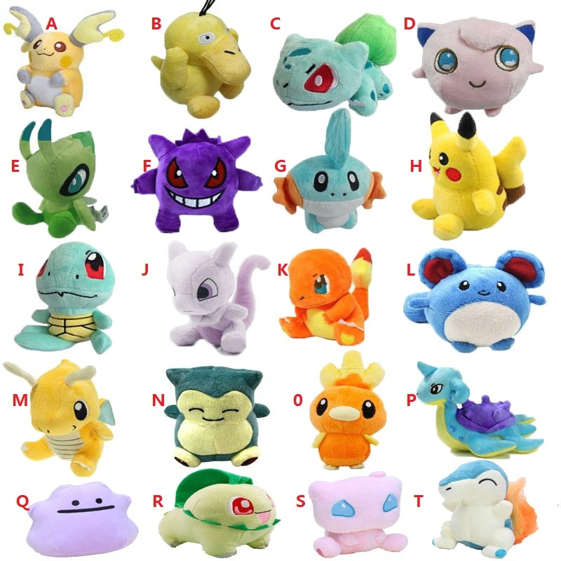 20 estilos de pelúcia brinquedo 12-18cm peluche pikachu snorlax charmander mewtwo dragonite bonito macio enchido bonecas para crianças presente de natal