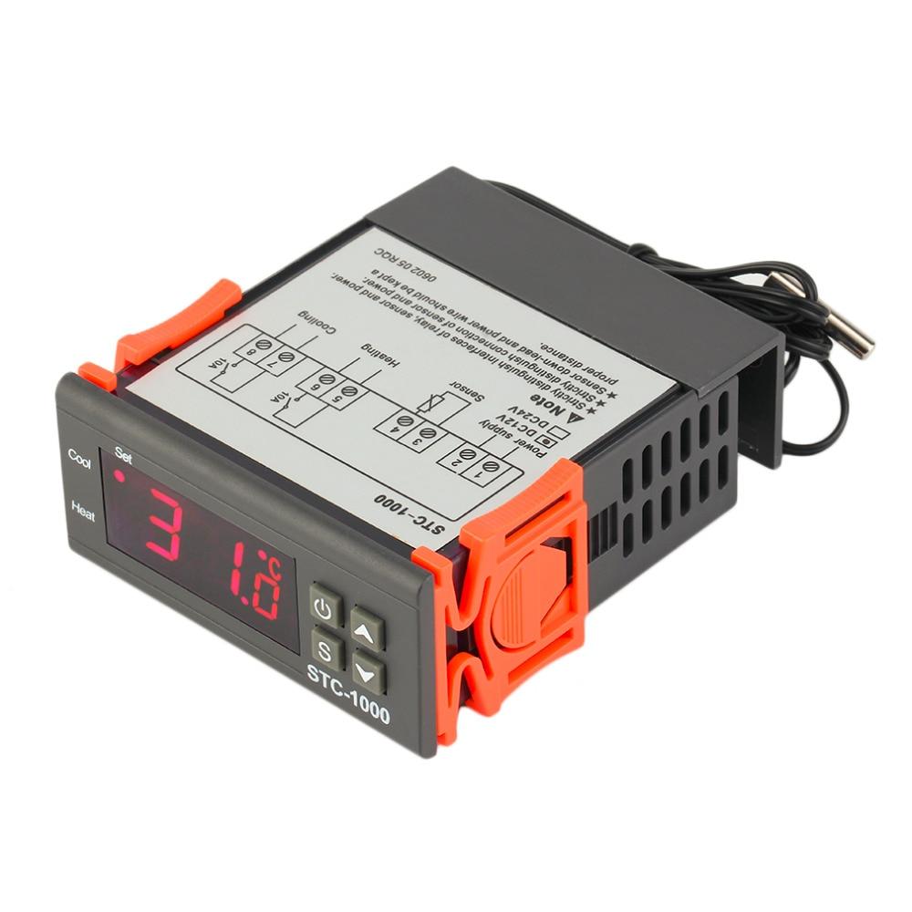 STC-1000 10A AC/DC 12V 24V 110V 220V два выхода реле цифровой регулятор температуры термостат-50 ~ 99C 1m датчик для инкубатора