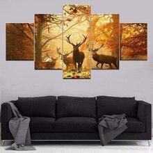 Leinwand Gemälde Moderner Kunst Live Wand Dekoration Rahmen Bilder Landschaft Ölgemälde 5 Panel Tier Deer Herbst Wald Malerei