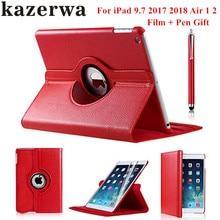 360 étui intelligent en cuir rotatif pour Apple iPad Air 1 Air 2 nouveau iPad 9.7 2017 2018 A1822 A1823 A1893 tablette Capa Funda + Film