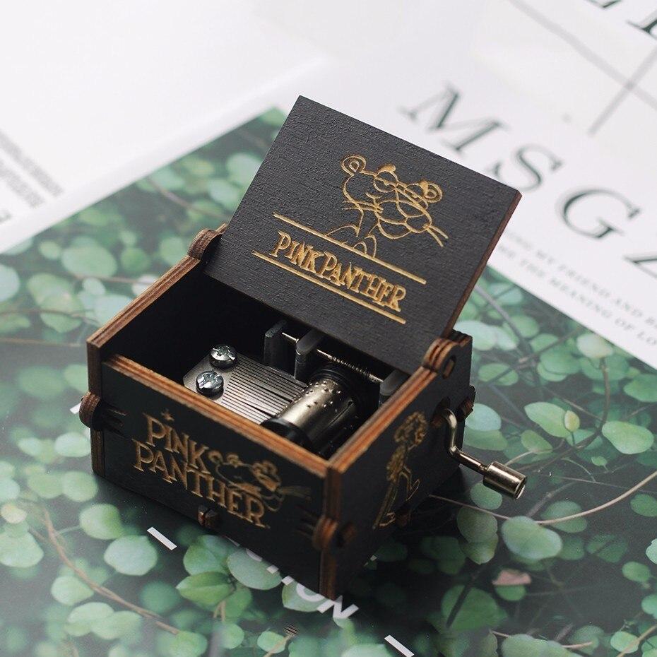 Caja de música negra de alta gama con manivela hecha a mano, La Bella y La Bestia, el espíritu de La pantera rosa, Juego del trono, regalo de Navidad de STAR WARS