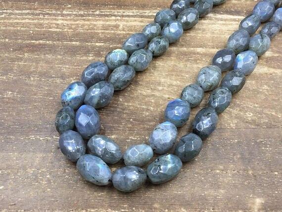 "Faceted Labradorite Nugget beads Flash Labradorite Quartz Crystal Beads Chunky Oval Rice Gemstone Beads Supplies 15.5"" full stra"