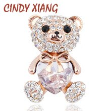 CINDY XIANG 3 couleurs choisir grand cristal coeur ours broche mignon Animal broches et broches pour les femmes robe manteau Badges bijoux chauds