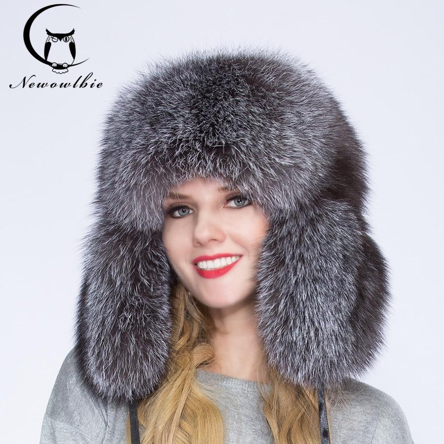 2021 100% natural fox fur men and women winter hat, warm and comfortable, full of silver fox fur tyrant cap, ear cap