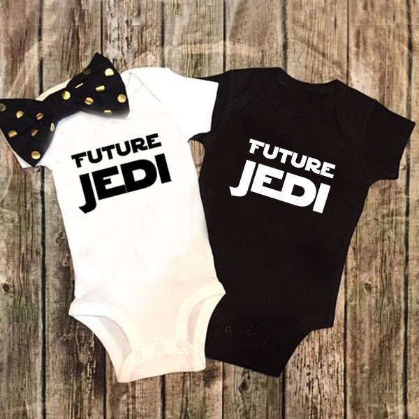 AliExpress - DERMSPE Summer New Style Baby Girls Boys Rompers Short Sleeve Newborn Baby Clothes Print Future Jedi Jumpsuit Black White
