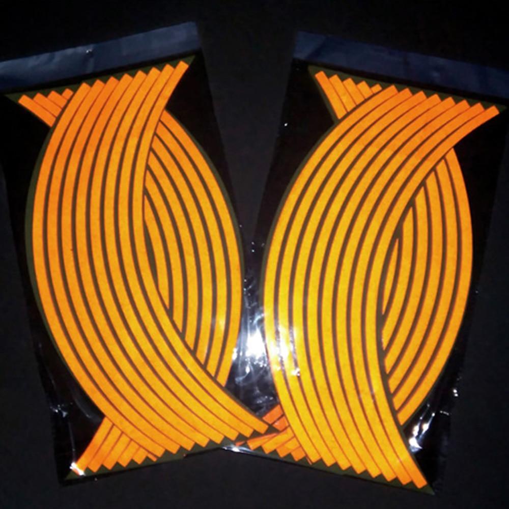 "16 piezas 17*18 ""tiras de rueda de coche de motocicleta pegatinas de llanta reflectante cinta de motocicleta autocalcomanías creativas universales etiqueta engomada"